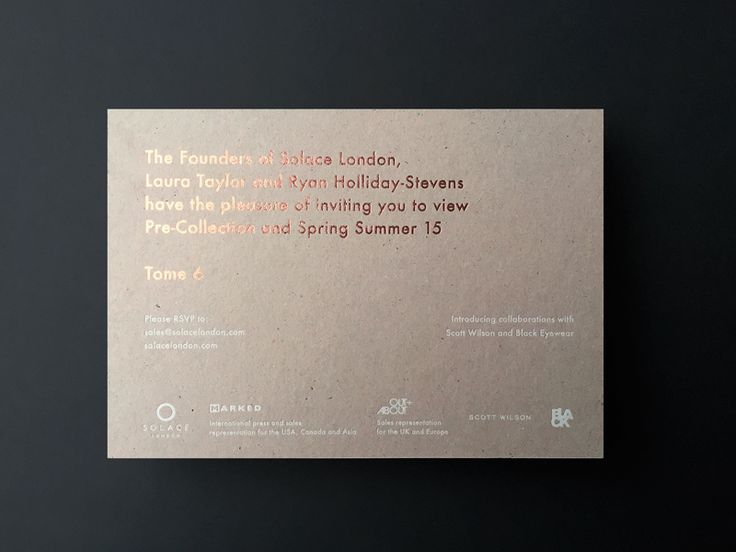 Solace London SS15 Invitation - Sandra Autukaite Portfolio - The - business invitation templates