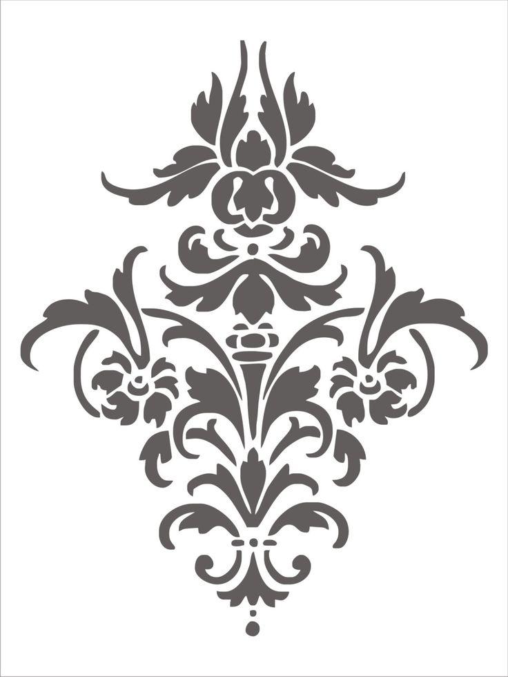 Stencil Damask Design 4.1, flourish scroll wall stencil, image is approx. 14 x 11 inches. $22.50, via Etsy.