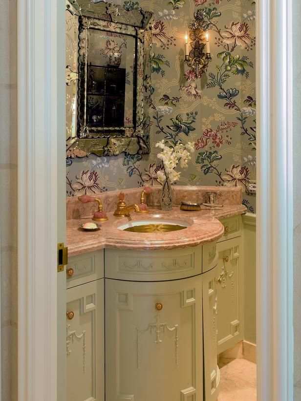 "Romantic Bathrooms from Leta Austin Foster on HGTVPowder Room with Pink Countertop, Gold Faucet, Green Cabinet and Floral Wallpaper  This powder room is papered in Farrow & Ball's ""Anna-Maria,"" while the ""Green Ground"" cabinets provide a pleasing accent. ©Gibbs Smith, Farrow and Ball, Brian D Coleman"