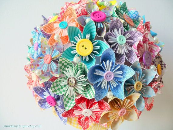 origami bridal bouquet (by ann-kay design via emmaline bride)