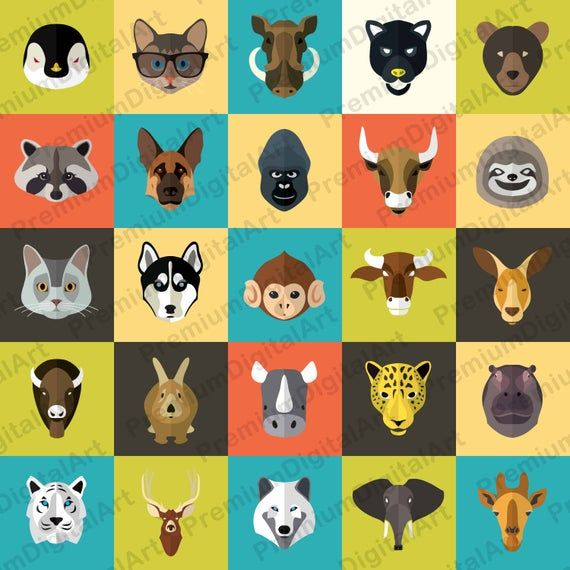 25 Kids Animals Clipart Kids Clip Art Set Animals Kids Clip Etsy Animal Clipart Animal Icon Animals For Kids