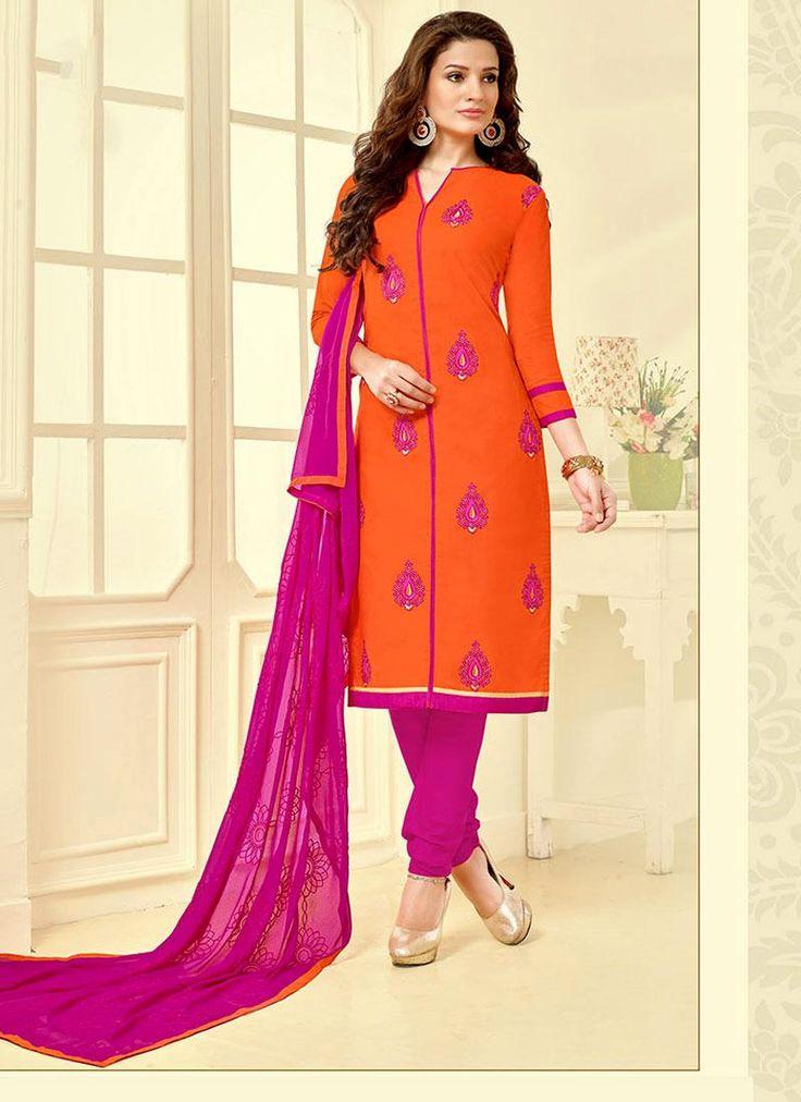 Stupendous Embroidered Work Orange Churidar Suit