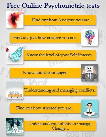 Take free psychometric test and free personality test like assertive personality test, creativity test, self esteem test, change management test. Dubai