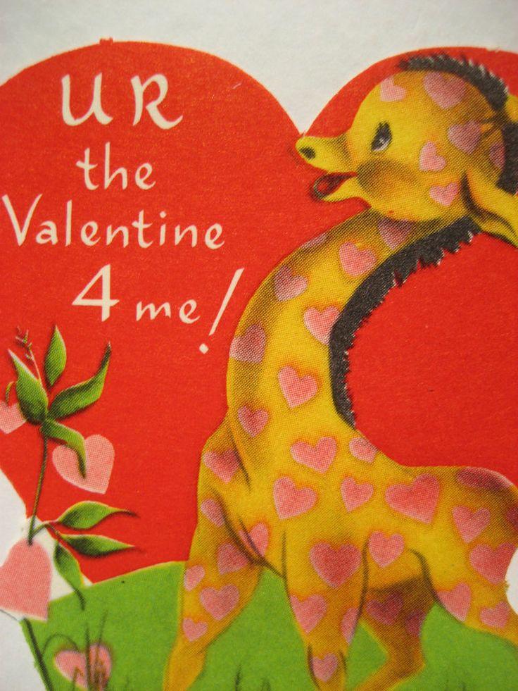 Vintage Valentine Card Cute Giraffe Pink Hearts UR The Valentine 4 Me  UNUSED NEW
