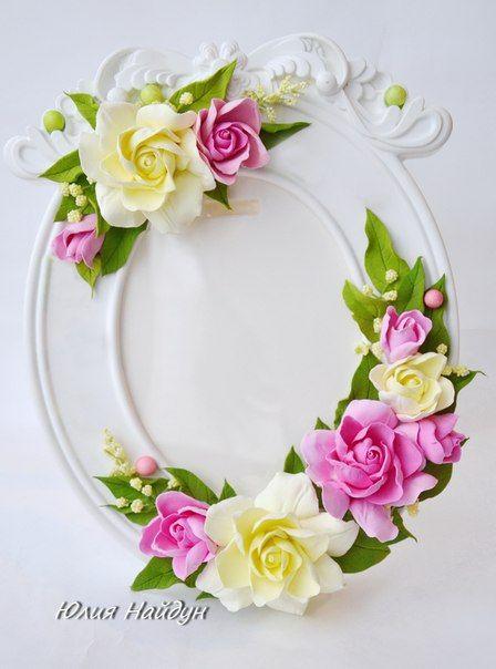 Рамка для фото, декорированная цветами