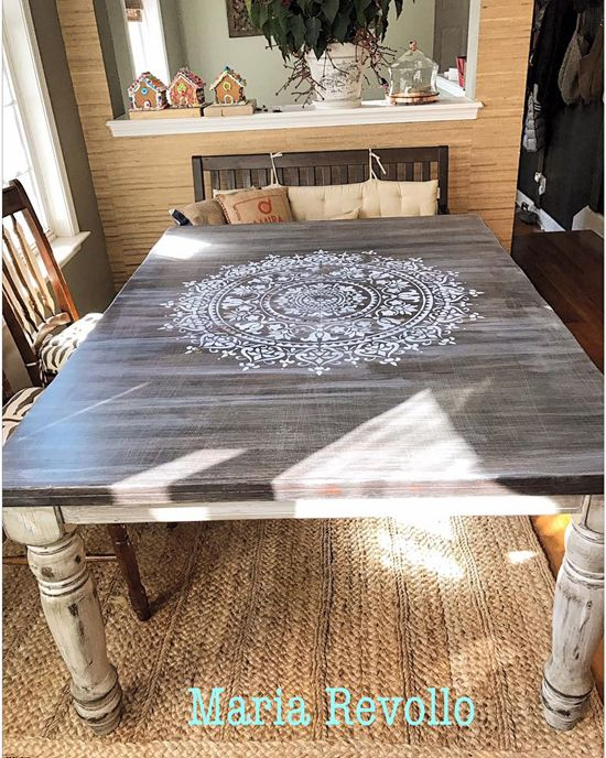 learn how to stencil a wood kitchen table using the prosperity mandala stencil from cutting edge. Interior Design Ideas. Home Design Ideas