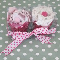 Great baby shower gift ideas - cupcake made up of baby girls clothing