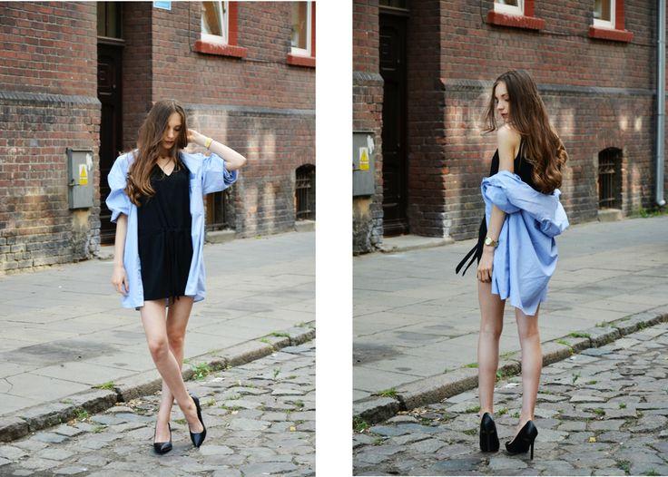 #fashion #legs #heels #szpilki #kombinezon #minimalizm #minimalism #black #hair #babyblue #shirt #oversize