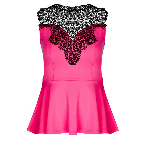 City Chic Lace Love Top ($69) ❤ liked on Polyvore featuring tops, shirts, tank tops, peplum shirt, lace top, lacy tops, pink peplum top e crochet lace top