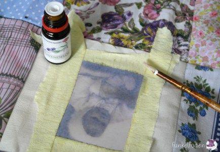 Drucken mit Lavendelöl auf Stoff
