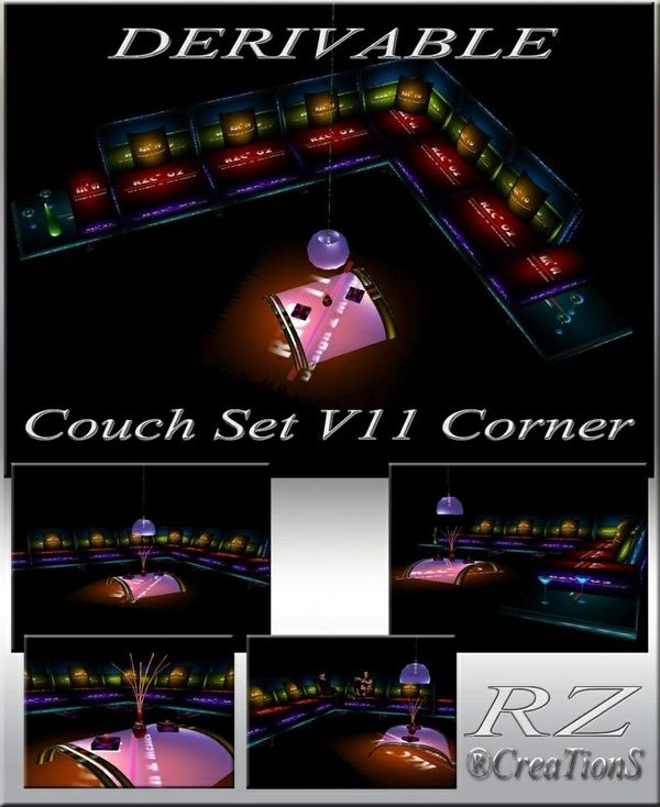 169. Couch Set V 11 Corner With Poses Mesh Furniture