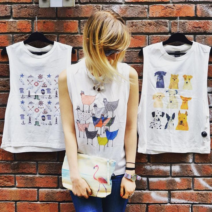 New collection just hit the floor szputnyik szputnyikshop budapest brandnew tanktop collection ss2016 chick chicken doggy dog sailor print narval flamingo blondie fashion  streetstyle