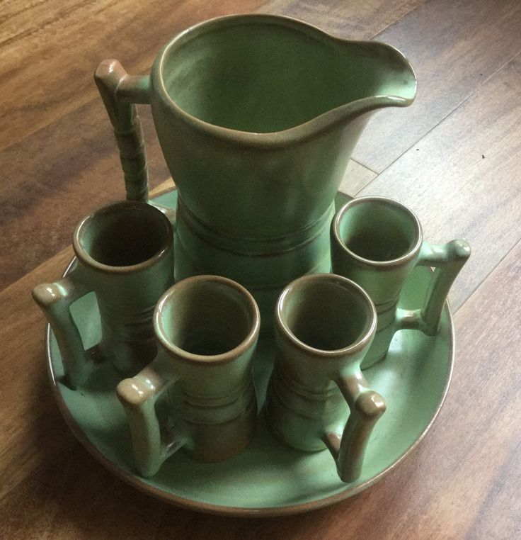 Vintage Frankoma Prairie Green Pottery Pitcher and Glasses Set with Tray Frankoma Pottery Pottery & 767 best Frankoma pottery images on Pinterest | Bottle Glass and ...
