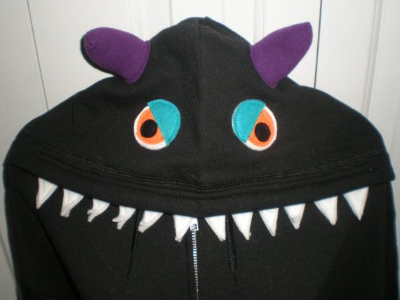MONSTER HOODIE zip front spikey spotty back by CreativeCallipipper