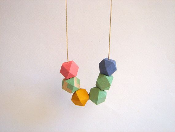 Pastel Geometric Necklace Handpainted Wood by LiKeGjewelry on Etsy