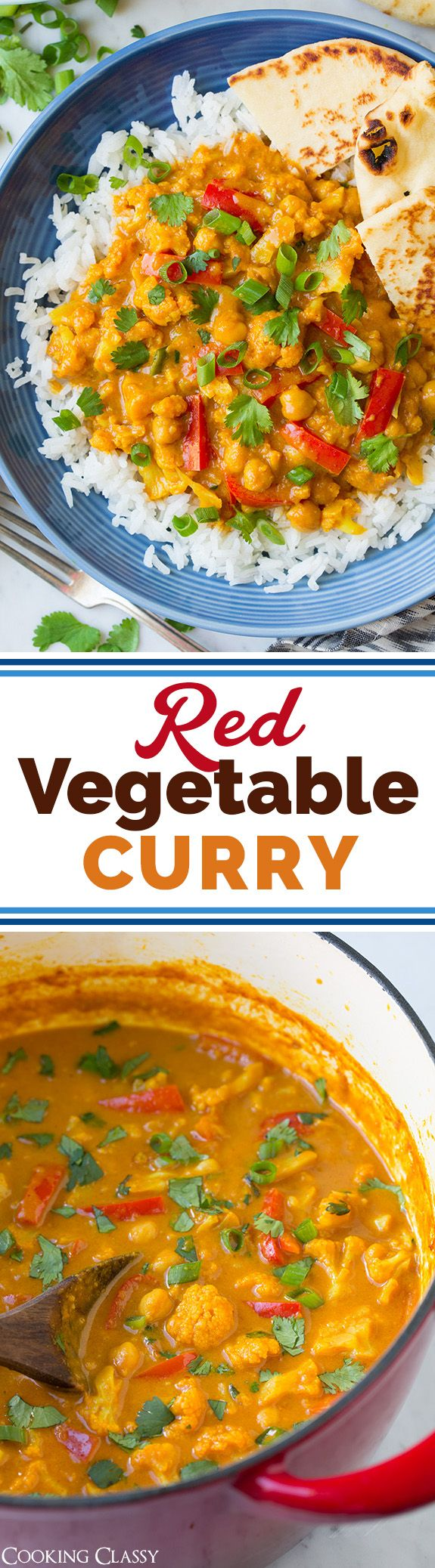 Red Vegetable Curry - a new favorite vegetarian dinner! You won't even miss the meat!