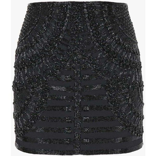 Crepe mini skirt embellished with beads | Women's skirts | Balmain ($2,495) ❤ liked on Polyvore featuring skirts, mini skirts, balmain, short skirts, beaded mini skirt, beaded skirt and embellished skirt