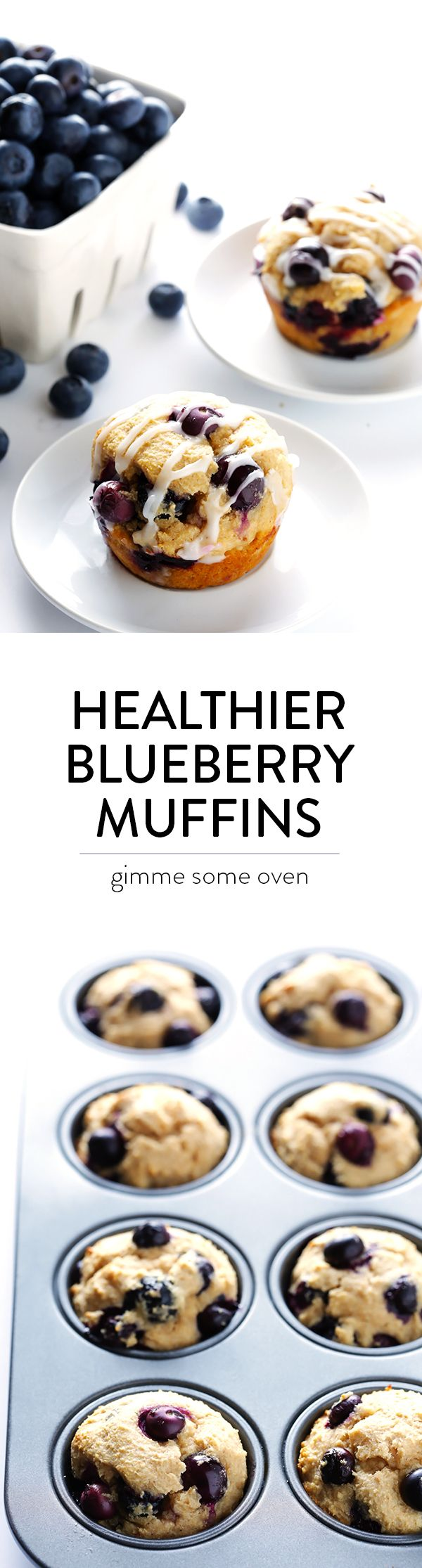 This healthier blueberry muffin recipe is easy to make, made with white whole wheat flour and sweetened with honey, and so fluffy and buttery and delicious! | gimmesomeoven.com