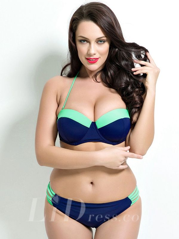 Halter Plus Size Two-Piece Bikini Lidyy1605201030
