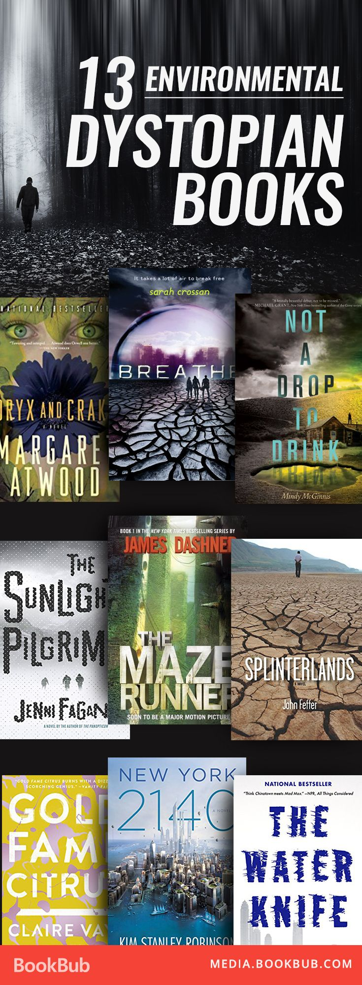 13 environmental dystopian books for teens and adults. Including a list of classic novels and recent fiction that would make great additions to your reading list!