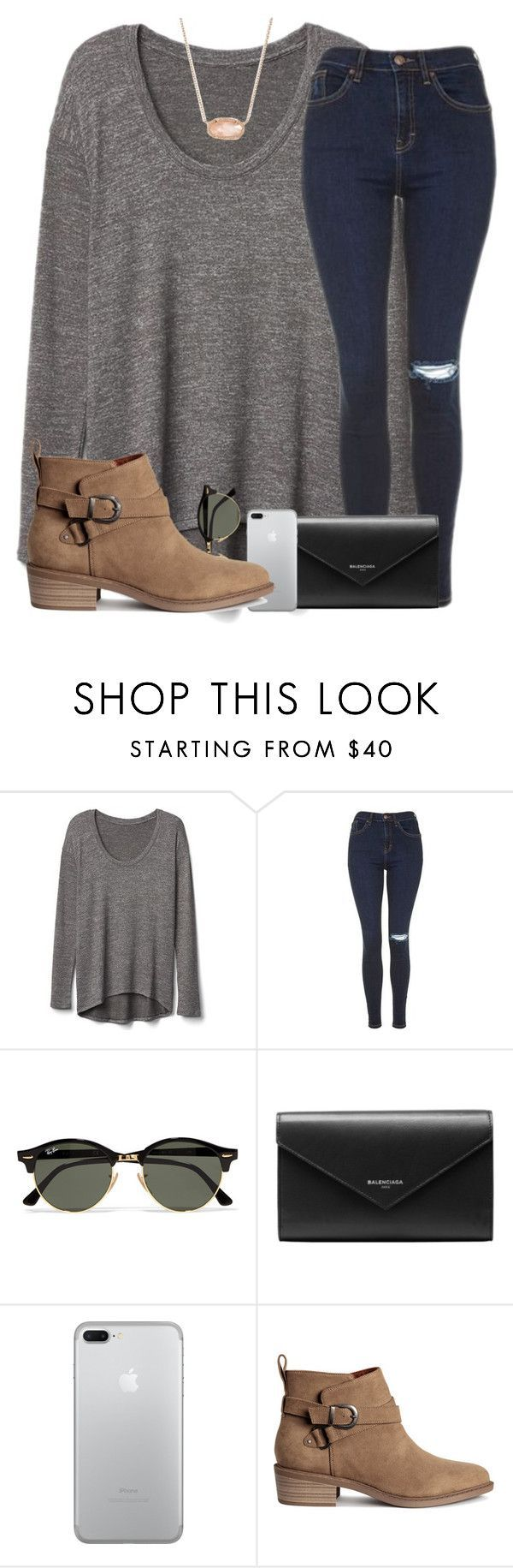 Long sleeve grey tee and brown booties outfit featuring Gap, Topshop, Ray-Ban, Balenciaga, H&M and Kendra Scott