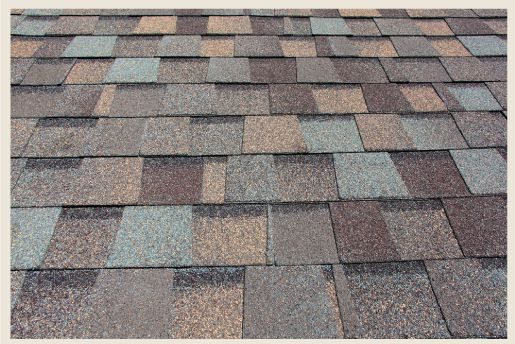 Multicolored shingle roof would go with any color house