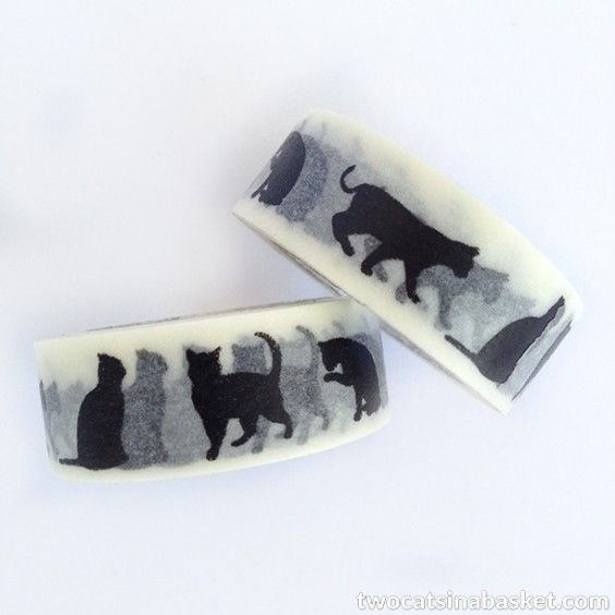 Washi Tape Cat Silhouette Negra - TWO CATS IN A BASKET