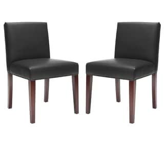 Shop for Safavieh Parsons Dining Amsterdam Grey Black Leather Dining Chairs (Set of 2). Get free shipping at Overstock.com - Your Online Furniture Outlet Store! Get 5% in rewards with Club O! - 13792227