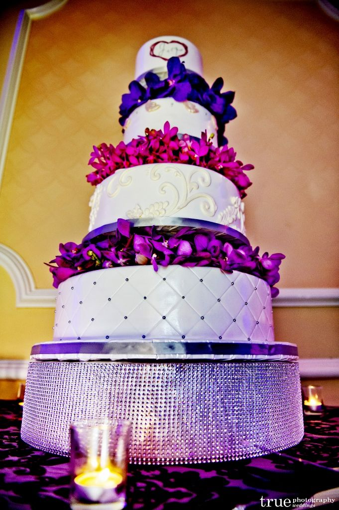 quilted wedding cake purple flowers - Google Search