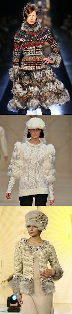 Удивительные сочетания вязания и меха | Мода