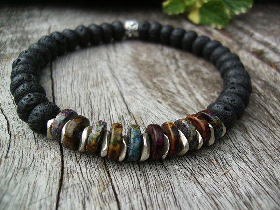 Men's Stretch Bracelet, Black Lava and Greek  Ceramic Beads - the perfect gift for someone special! - by BonArtsStudio