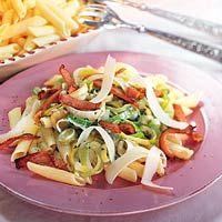 Recept - Penne met prei-baconroomsaus - Allerhande