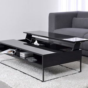 Table basse design laqu 1 plateau relevable laura noir for Table basse scandinave laque