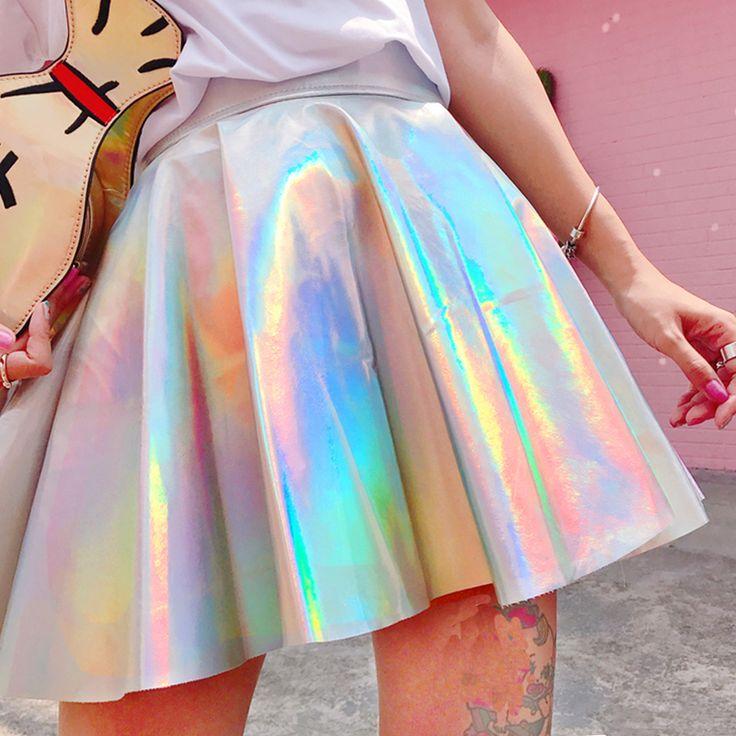 Silver Holographic Women Vinyl Skirt Clothes Punk Laser Hologram Foil Fabric Skater Skirt Rave Festival Outfits