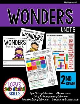 Using McGraw-Hill Wonders series? This file is morning work for Unit 5 in Second grade. It includes spelling, vocabulary, grammar, high frequency words and sentence structure practice to be completed independently in small portions throughout the week.