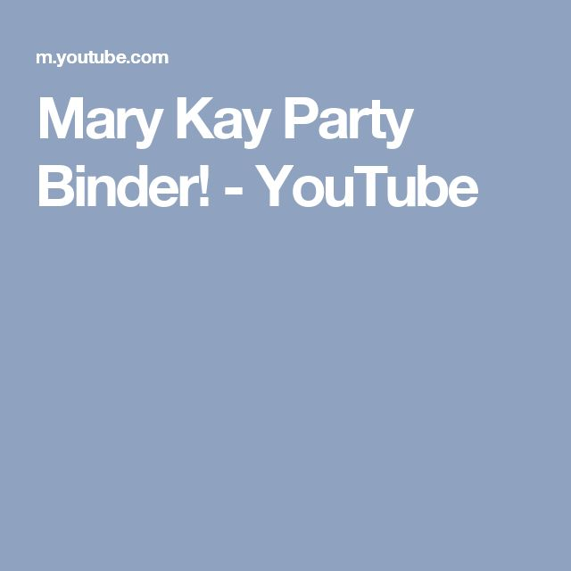 Mary Kay Party Binder! - YouTube
