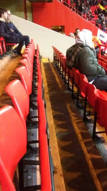 Empty row of seats in the home Kop at Charlton Athletic Football Club.