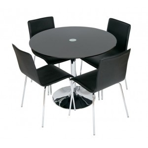 stylish black glass dining table with 4 faux leather chairs
