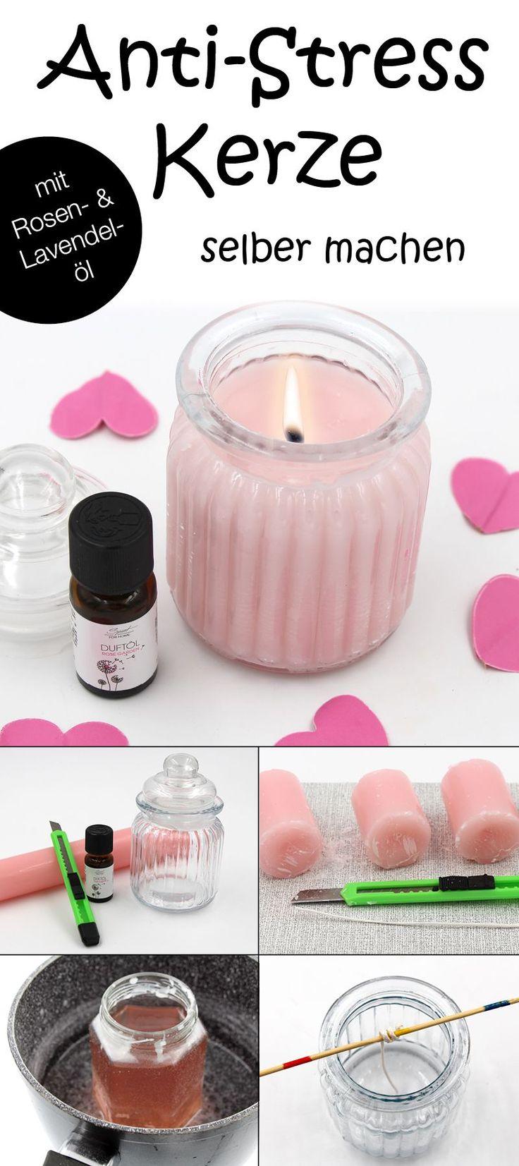 DIY Geschenk Idee: Anleitung für Duftkerze mit  Rose und Lavendel
