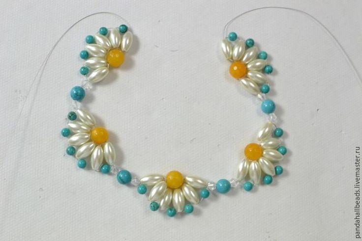 Плетем летнее ожерелье с цветами - Ярмарка Мастеров - ручная работа, handmade