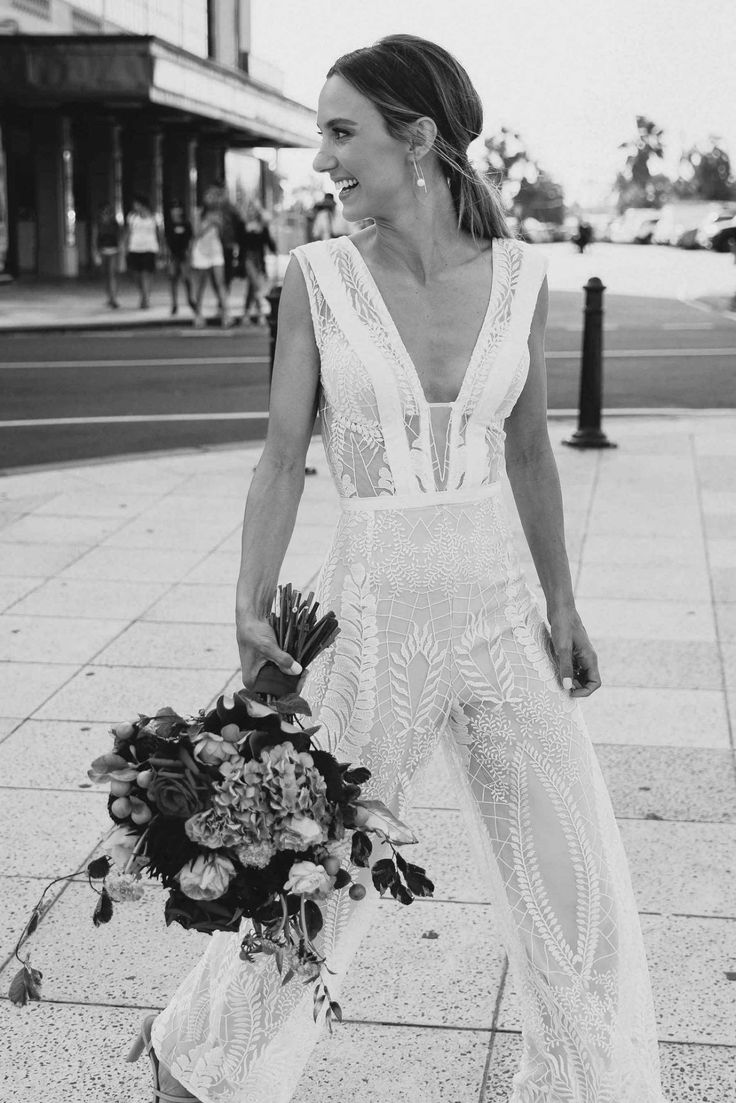Georgia Young Couture Jan Juc jumpsuit with custom made tulle skirt. Jum Wedding Dress On Sale Second Hand Wedding Dresses, Wedding Dresses For Sale, Wedding Outfits, Delphine Manivet Wedding Dresses, Make Up Braut, Wedding Jumpsuit, Dress Images, White Bridal, Formal Dresses