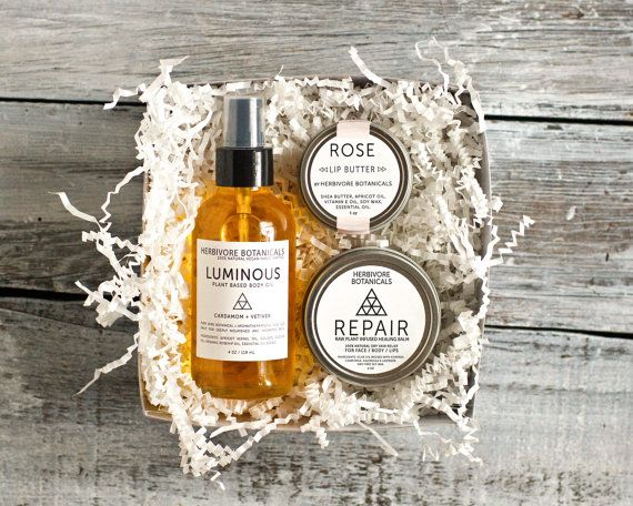 Winter Skin Gift Set. Boxed Gift Set. Body and Skin Care. Body Oil. Healing Balm. Lip Butter. Vegan. Handcrafted. 100% Natural.