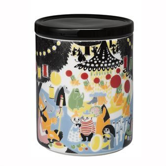The Moomin Friendship jar by Arabia was designed by Tove Slotte-Elevant with inspiration from Tove Jansson original drawings from the book