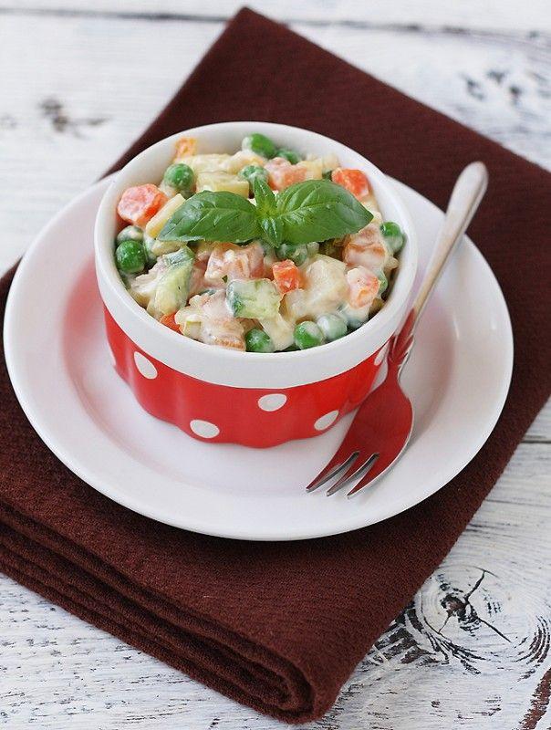 """""""Olivie"""" Salad - one of my favorites, kinda tastes like potato salad"""