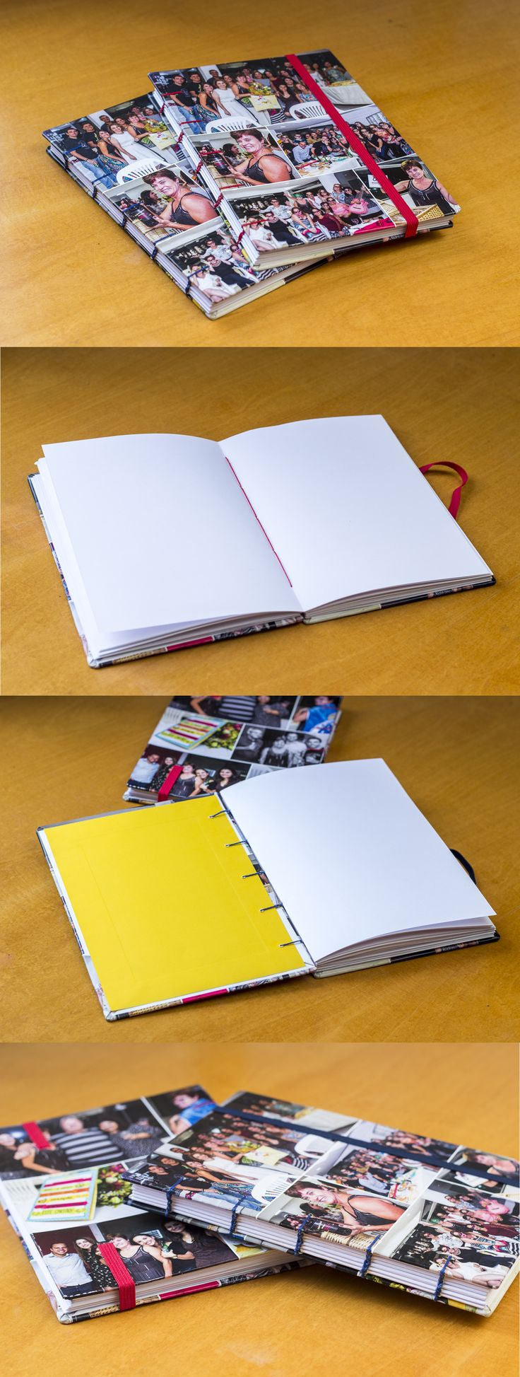 Personalize o caderno com suas fotos! Todos os cadernos são feitos manualmente.     Detalhes:  - Capa dura  - Tamanhos 14x19cm e 10x15cm  - Costura exposta  - Fechamento em elástico  - Miolo com 168 páginas em papel sulfite 75g marfim (sem pauta)