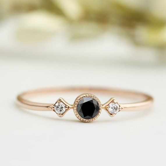 Black Diamond Ring 14k Rose Gold 3mm Black Diamond Engagement