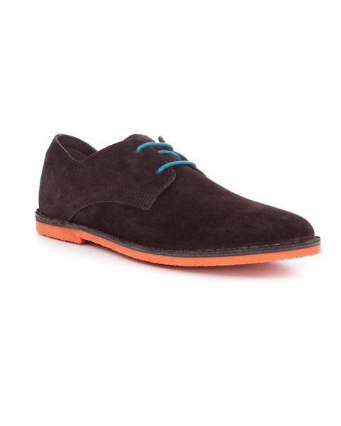 Zapato El Ganso. Elaborado en serraje. Cordones contrastados . Suela contrastada
