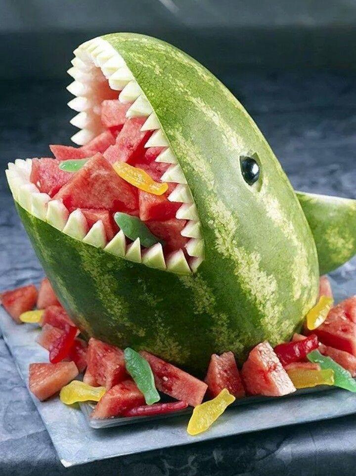 Fun food, children's food, healthy birthsday food, shark, watermelon art
