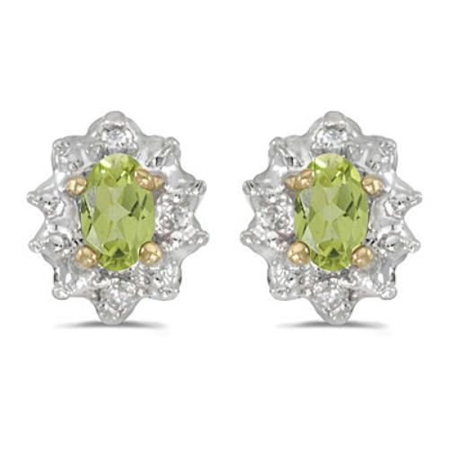 Fine Jewelry Genuine Peridot And 1/6C. T.T.W. Diamond 10K Yellow Gold Earrings IVPkx97eu