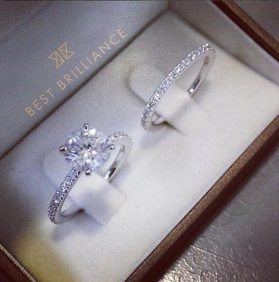 Anel de noivado de diamante, anel de noivado de ouro branco, presente para ela, Diamo …   – Schmuck